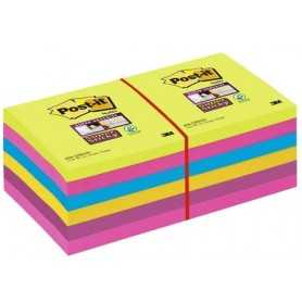 Post-it® Super Sticky Note Colori Ultra - 76x76 mm - 12 pz.